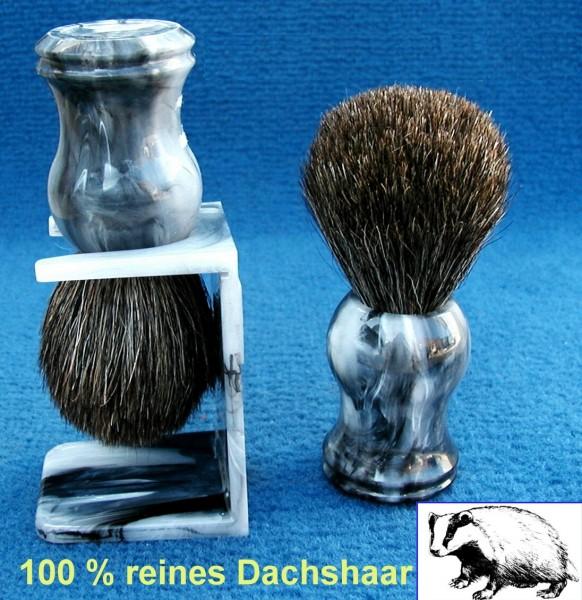 Rasierpinsel Mario Dachshaar mit Halter marmoriert