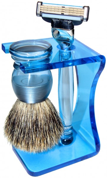 Rasierset Nico Acrylglas blau